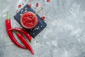 Red hot chili jam with fresh