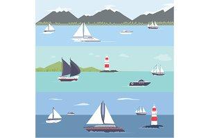 Ship traveling, island landscape