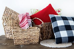 Rattan Baskets Pillows and Blankets