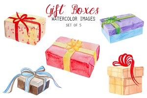 Watercolor Gift Boxes Clipart