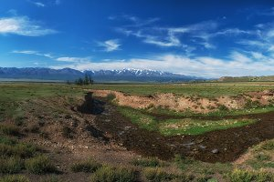 Panorama of Altai mountains with