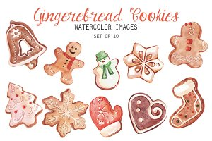 Watercolor Gingerbread Clipart