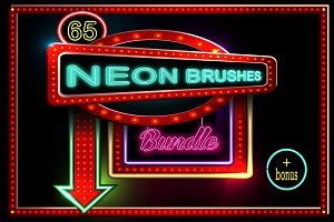 65 Neon brushes bundle.