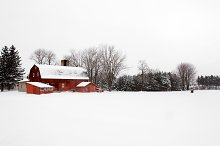 Red Barn On A Winter Day by  in Architecture