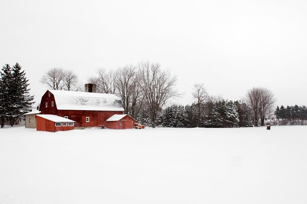 Architecture Stock Photos - Red Barn On A Winter Day