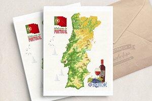Portugal. Lisbon. Vector postcard