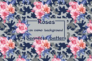 Pink roses on the camo background