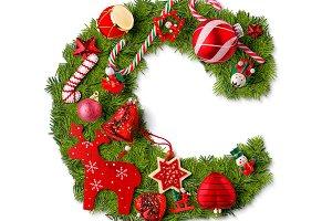 Christmas alphabet letter C