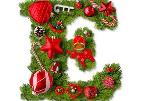 Christmas alphabet letter E