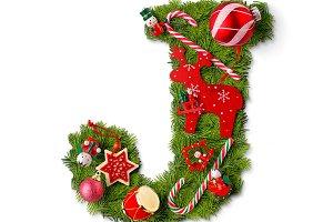 Christmas alphabet letter J
