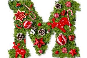Christmas alphabet letter M