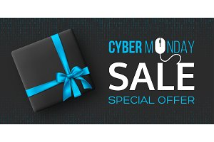 Cyber monday sale horizontal poster
