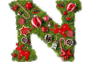 Christmas alphabet letter N