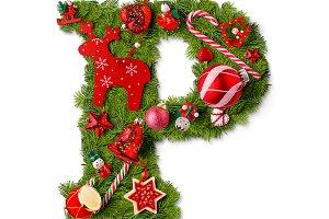 Christmas alphabet letter P