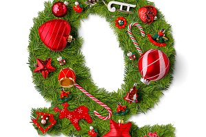 Christmas alphabet letter Q