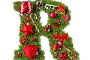 Christmas alphabet letter R