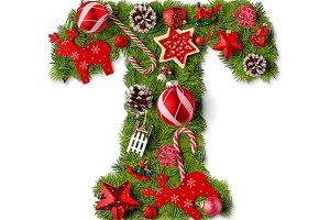 Christmas alphabet letter T