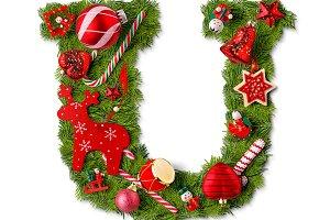 Christmas alphabet letter U