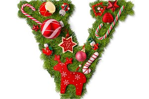 Christmas alphabet letter V