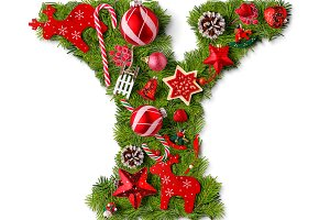Christmas alphabet letter Y