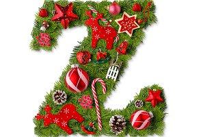 Christmas alphabet letter Z