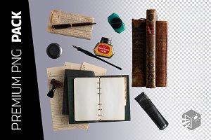 7 VINTAGE LIBRARY SUPPLIES PNG
