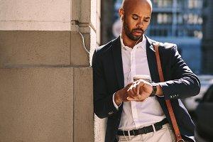Businessman waiting outdoors