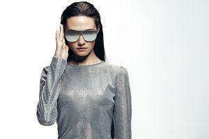 Trendy fashion portrait of a woman