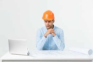 Young workman annoyed angry in