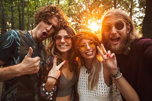 Photo of happy hippie people men and