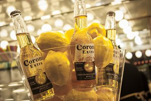 Bottles of beer and lemons