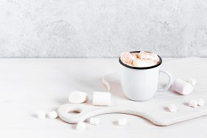 Mug of hot cocoa with marshmallow