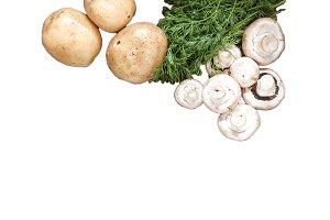 Fresh potatoes, champignon mushrooms