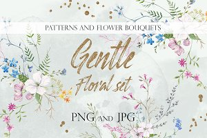 Watercolor Gentle Floral Set PNG