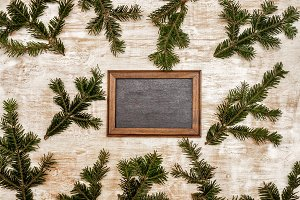 Background with fir branches and cha