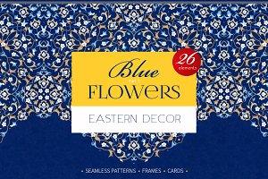 3.Kit Of Eastern Decor. Blue Flowers