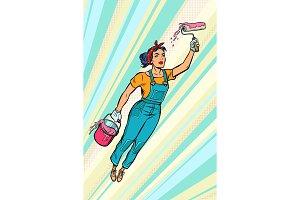 woman painter, superhero flies