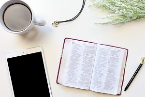 Bible Stock Photo with Coffee