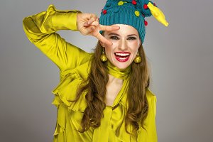 happy young woman in Christmas hat i