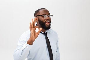 Young black businessman having happy