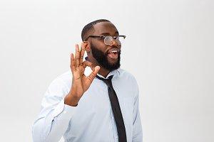 Young black businessman having happy