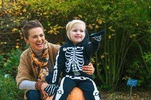 mother and daughter on Halloween at