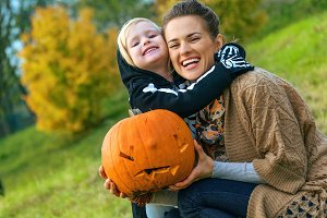 mother and daughter with Halloween p
