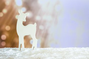 White deer in a snowy place