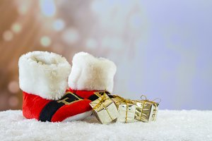 Santa Claus boots with gifts