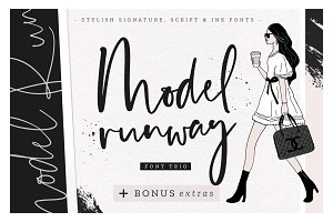 Model Runway Fonts + BONUS Extras