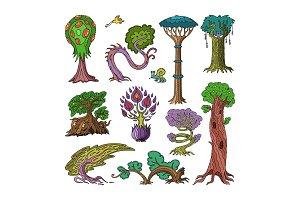 Magic tree vector fantasy forest