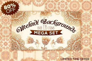 Mehndi Backgrounds BIG set