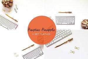 Pumpkins + Pineapples 4 Set Flatlay
