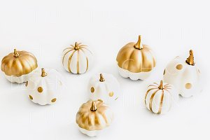 White and Gold Pumpkin Stock Image